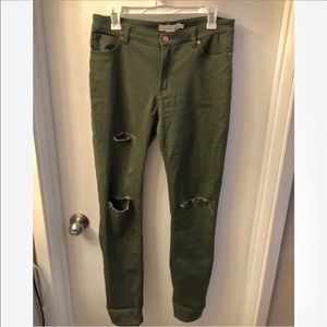 H&M olive green distressed pants